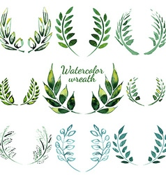 Watercolor vintage floral trendy set vector