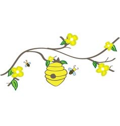 Branch with beehive vector