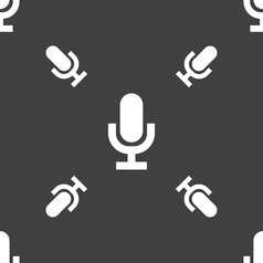 Microphone icon sign seamless pattern on a gray vector