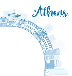 Outline athens skyline with blue buildings vector