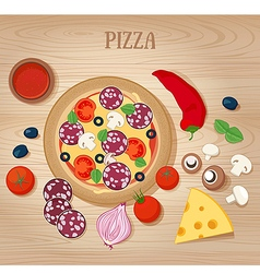 Pizza and ingredients on wooden background vector
