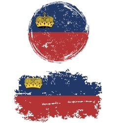 Liechtenstein round and square grunge flags vector