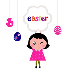 Girl holding easter banner vector