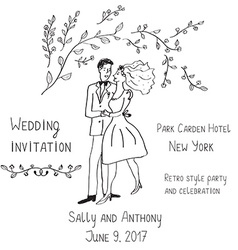 Wedding invitation design handdrawn style - with vector image