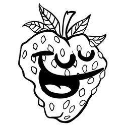 Black and white strawberry smile vector