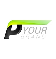 P letter black and green logo design Fast speed vector image