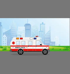 ambulance car in the city vector image vector image