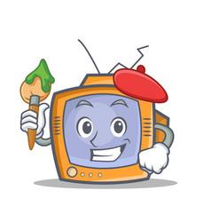 artist tv character cartoon object vector image vector image