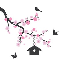 Birds house vector