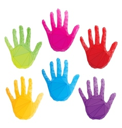 Colorful hand prints poligonal art vector