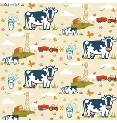 Farm cows seamless pattern vector image vector image