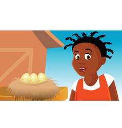 farm with eggs vector image vector image