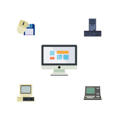 Flat icon laptop set of computer mouse processor vector