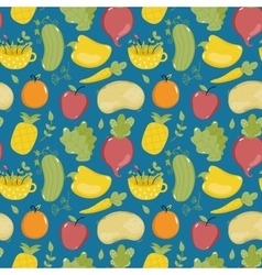 Food seamless pattern with fruit and vegetables vector image
