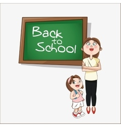 Girl cartoon and teacher of back to school design vector