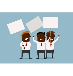 Group of businessmen protesting with placards vector