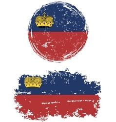 Liechtenstein round and square grunge flags vector image vector image