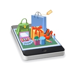 Mobile online shopping of woman accessories vector