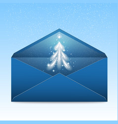 New year blue envelope with stars and blizzard vector
