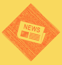 Newspaper sign red scribble icon obtained vector