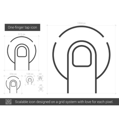 One-finger tap line icon vector