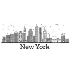 outline new york usa city skyline with modern vector image vector image