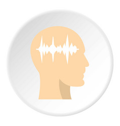 Profile of the head with sound wave inside icon vector
