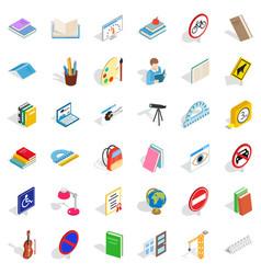 Quiz icons set isometric style vector