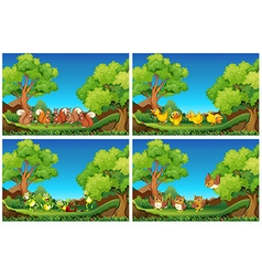 Scenes with animals in the garden vector image