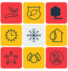 Set of 9 eco-friendly icons includes fire banned vector