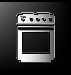 Stove sign gray 3d printed icon on black vector