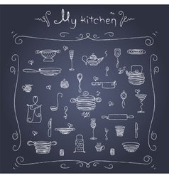 Stylized sketch of tableware vector