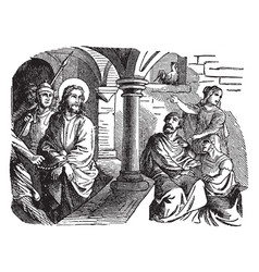 The denial of peter - jesus looks at peter in the vector