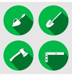 Tool icon set trowel spattle surfacer axe vector