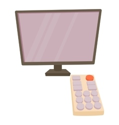 Tv with remote icon cartoon style vector