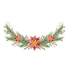 Watercolor christmas wreath with fir vector
