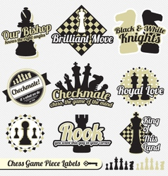 Vintage chess labels and icons vector