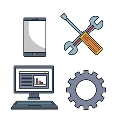 Set tools data center graphic isolated vector