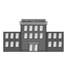 Railway station icon black monochrome style vector