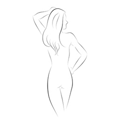 Sexy girl pose back vector