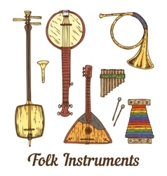 Folk musical instruments vector