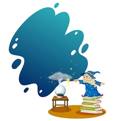 A wizard at the top of the piled books vector image