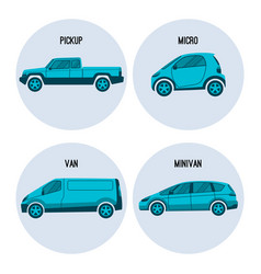 pickup truck microcar van road vehicle minivan vector image