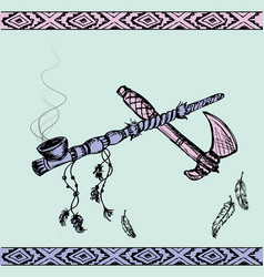 Native american peace pipe and tomahawk vector