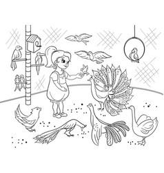 Childrens cartoon coloring the contact birds zoo vector