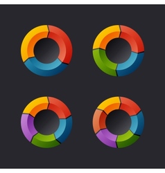 Circular chart template set vector