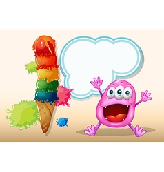 A cheerful beanie monster near the icecream vector