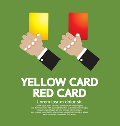 Hand holding red card and yellow card vector