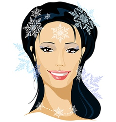 Winter beautiful woman portrait vector