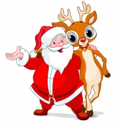 Santa and his reindeer rudolf vector